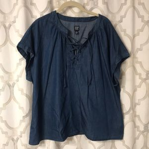 Tops - GAP denim lace up top NWOT